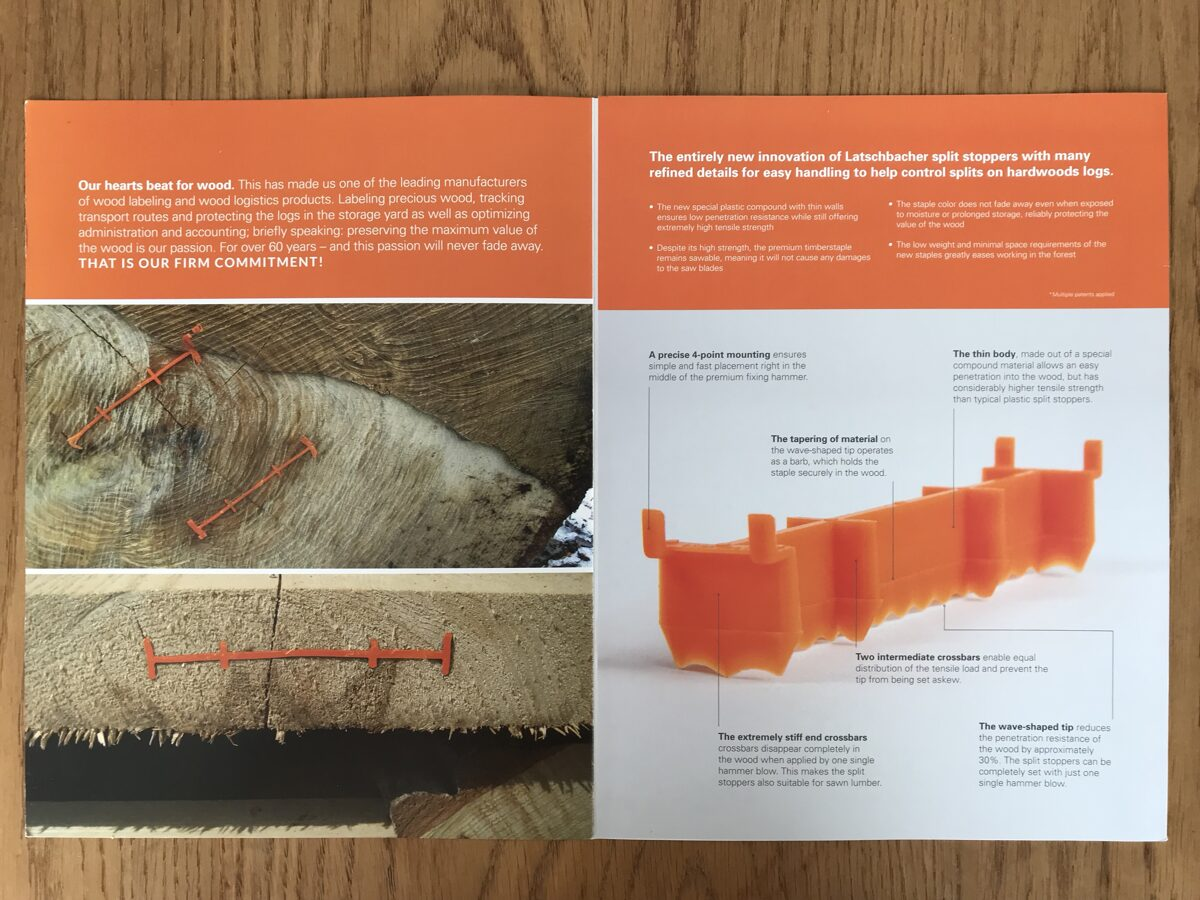 Apvalios medienos ir viengubo pjovimo lentų skilimo prevencijos plastikinės kabės Signumat